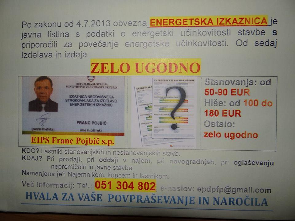 EIPS, IZDELAVA IN IZDAJA ENERGETSKIH IZKAZNIC, FRANC POJBIČ S.P., POSTOJNA